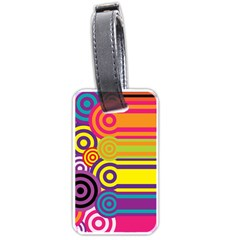 Retro Circles And Stripes Colorful 60s And 70s Style Circles And Stripes Background Luggage Tags (One Side)