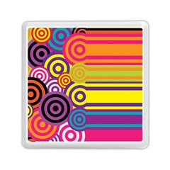 Retro Circles And Stripes Colorful 60s And 70s Style Circles And Stripes Background Memory Card Reader (square)