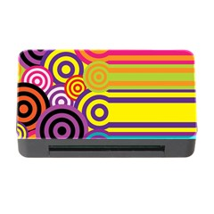 Retro Circles And Stripes Colorful 60s And 70s Style Circles And Stripes Background Memory Card Reader with CF
