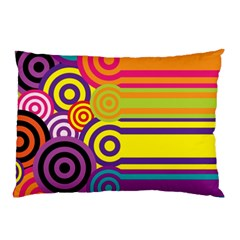 Retro Circles And Stripes Colorful 60s And 70s Style Circles And Stripes Background Pillow Case (Two Sides)