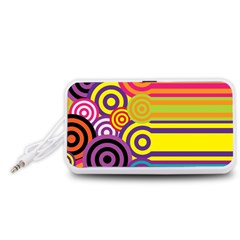 Retro Circles And Stripes Colorful 60s And 70s Style Circles And Stripes Background Portable Speaker (White)