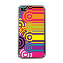 Retro Circles And Stripes Colorful 60s And 70s Style Circles And Stripes Background Apple iPhone 4 Case (Clear)