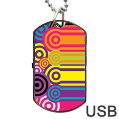Retro Circles And Stripes Colorful 60s And 70s Style Circles And Stripes Background Dog Tag USB Flash (Two Sides)