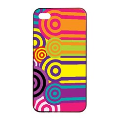 Retro Circles And Stripes Colorful 60s And 70s Style Circles And Stripes Background Apple Iphone 4/4s Seamless Case (black)