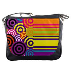 Retro Circles And Stripes Colorful 60s And 70s Style Circles And Stripes Background Messenger Bags