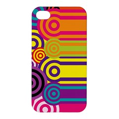 Retro Circles And Stripes Colorful 60s And 70s Style Circles And Stripes Background Apple iPhone 4/4S Premium Hardshell Case