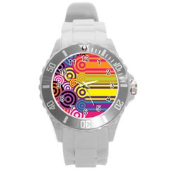 Retro Circles And Stripes Colorful 60s And 70s Style Circles And Stripes Background Round Plastic Sport Watch (L)