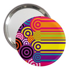 Retro Circles And Stripes Colorful 60s And 70s Style Circles And Stripes Background 3  Handbag Mirrors