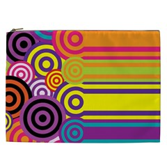Retro Circles And Stripes Colorful 60s And 70s Style Circles And Stripes Background Cosmetic Bag (xxl)