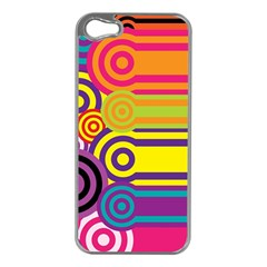 Retro Circles And Stripes Colorful 60s And 70s Style Circles And Stripes Background Apple iPhone 5 Case (Silver)