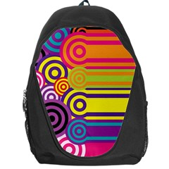 Retro Circles And Stripes Colorful 60s And 70s Style Circles And Stripes Background Backpack Bag