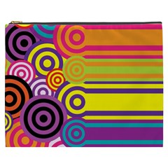 Retro Circles And Stripes Colorful 60s And 70s Style Circles And Stripes Background Cosmetic Bag (XXXL)