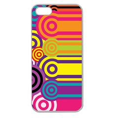 Retro Circles And Stripes Colorful 60s And 70s Style Circles And Stripes Background Apple Seamless iPhone 5 Case (Clear)