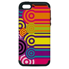 Retro Circles And Stripes Colorful 60s And 70s Style Circles And Stripes Background Apple iPhone 5 Hardshell Case (PC+Silicone)