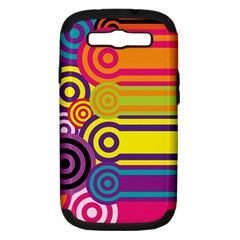 Retro Circles And Stripes Colorful 60s And 70s Style Circles And Stripes Background Samsung Galaxy S III Hardshell Case (PC+Silicone)