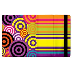 Retro Circles And Stripes Colorful 60s And 70s Style Circles And Stripes Background Apple iPad 3/4 Flip Case