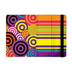 Retro Circles And Stripes Colorful 60s And 70s Style Circles And Stripes Background Apple iPad Mini Flip Case