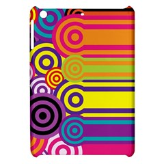 Retro Circles And Stripes Colorful 60s And 70s Style Circles And Stripes Background Apple iPad Mini Hardshell Case