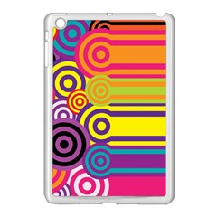 Retro Circles And Stripes Colorful 60s And 70s Style Circles And Stripes Background Apple iPad Mini Case (White)