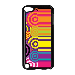 Retro Circles And Stripes Colorful 60s And 70s Style Circles And Stripes Background Apple Ipod Touch 5 Case (black)