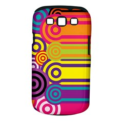 Retro Circles And Stripes Colorful 60s And 70s Style Circles And Stripes Background Samsung Galaxy S Iii Classic Hardshell Case (pc+silicone)