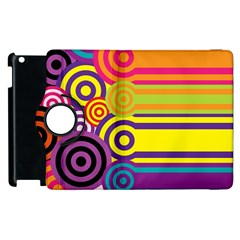 Retro Circles And Stripes Colorful 60s And 70s Style Circles And Stripes Background Apple iPad 2 Flip 360 Case