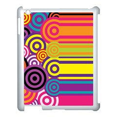 Retro Circles And Stripes Colorful 60s And 70s Style Circles And Stripes Background Apple iPad 3/4 Case (White)