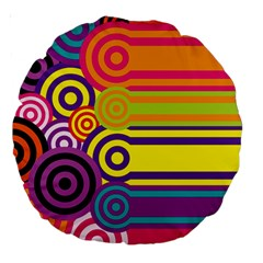Retro Circles And Stripes Colorful 60s And 70s Style Circles And Stripes Background Large 18  Premium Round Cushions