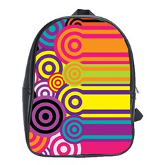 Retro Circles And Stripes Colorful 60s And 70s Style Circles And Stripes Background School Bags (XL)