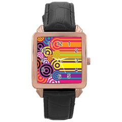 Retro Circles And Stripes Colorful 60s And 70s Style Circles And Stripes Background Rose Gold Leather Watch
