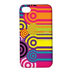 Retro Circles And Stripes Colorful 60s And 70s Style Circles And Stripes Background Apple iPhone 4/4S Hardshell Case with Stand