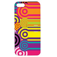 Retro Circles And Stripes Colorful 60s And 70s Style Circles And Stripes Background Apple iPhone 5 Hardshell Case with Stand