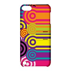 Retro Circles And Stripes Colorful 60s And 70s Style Circles And Stripes Background Apple iPod Touch 5 Hardshell Case with Stand