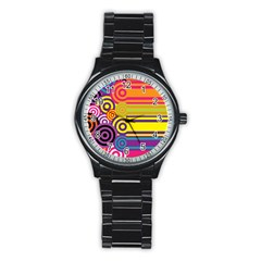Retro Circles And Stripes Colorful 60s And 70s Style Circles And Stripes Background Stainless Steel Round Watch