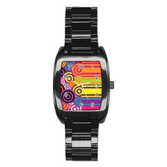 Retro Circles And Stripes Colorful 60s And 70s Style Circles And Stripes Background Stainless Steel Barrel Watch