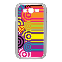 Retro Circles And Stripes Colorful 60s And 70s Style Circles And Stripes Background Samsung Galaxy Grand DUOS I9082 Case (White)