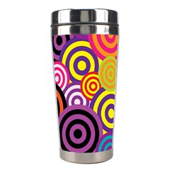 Retro Circles And Stripes Colorful 60s And 70s Style Circles And Stripes Background Stainless Steel Travel Tumblers