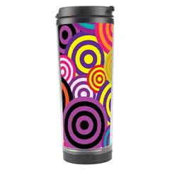 Retro Circles And Stripes Colorful 60s And 70s Style Circles And Stripes Background Travel Tumbler