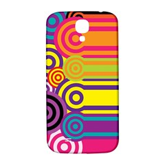 Retro Circles And Stripes Colorful 60s And 70s Style Circles And Stripes Background Samsung Galaxy S4 I9500/I9505  Hardshell Back Case