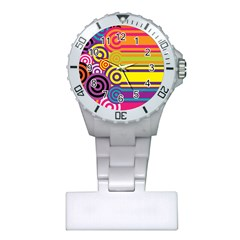 Retro Circles And Stripes Colorful 60s And 70s Style Circles And Stripes Background Plastic Nurses Watch