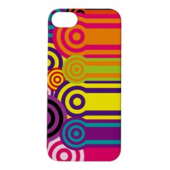 Retro Circles And Stripes Colorful 60s And 70s Style Circles And Stripes Background Apple iPhone 5S/ SE Hardshell Case