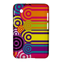 Retro Circles And Stripes Colorful 60s And 70s Style Circles And Stripes Background Samsung Galaxy Tab 2 (7 ) P3100 Hardshell Case