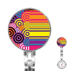 Retro Circles And Stripes Colorful 60s And 70s Style Circles And Stripes Background Stainless Steel Nurses Watch
