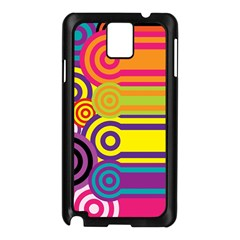 Retro Circles And Stripes Colorful 60s And 70s Style Circles And Stripes Background Samsung Galaxy Note 3 N9005 Case (Black)