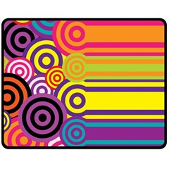 Retro Circles And Stripes Colorful 60s And 70s Style Circles And Stripes Background Double Sided Fleece Blanket (Medium)
