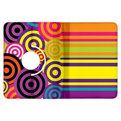 Retro Circles And Stripes Colorful 60s And 70s Style Circles And Stripes Background Kindle Fire Hdx Flip 360 Case