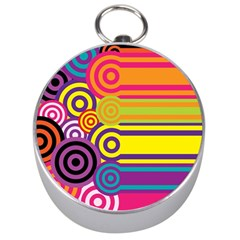Retro Circles And Stripes Colorful 60s And 70s Style Circles And Stripes Background Silver Compasses