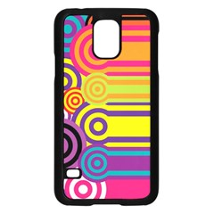 Retro Circles And Stripes Colorful 60s And 70s Style Circles And Stripes Background Samsung Galaxy S5 Case (Black)