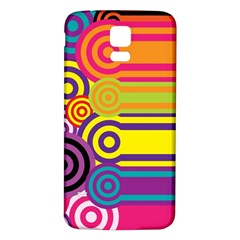 Retro Circles And Stripes Colorful 60s And 70s Style Circles And Stripes Background Samsung Galaxy S5 Back Case (White)