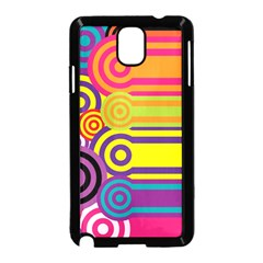 Retro Circles And Stripes Colorful 60s And 70s Style Circles And Stripes Background Samsung Galaxy Note 3 Neo Hardshell Case (Black)